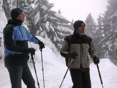 Schneeschuhlaufen am Dreisessel: Diskussionsrunde zum Thema Naturschutz und Schneeschuhwandernq